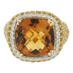 Citrine Diamond Yellow-Sapphire Gold Ring