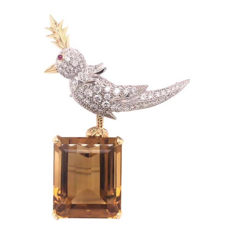 Citrine, Diamonds and Colored Sapphire Bird Tiffany & Co. Pin Brooch For Sale