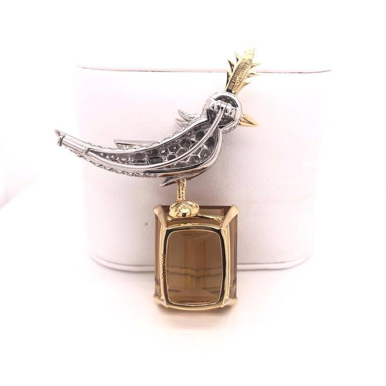 Citrine, Diamonds and Colored Sapphire Bird Tiffany & Co. Pin Brooch In Excellent Condition For Sale In Aventura, FL