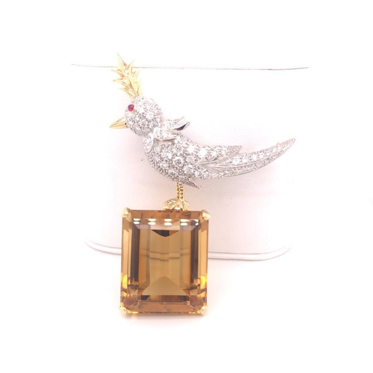 Women's or Men's Citrine, Diamonds and Colored Sapphire Bird Tiffany & Co. Pin Brooch For Sale