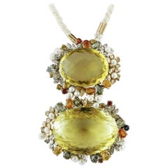 Citrine, Diamonds, Sapphires, Pearls, 14 Karat White and Rose Gold Retro Pendant
