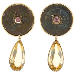 Citrine Drop Antiques Coin Pink Tourmaline 18 Karat Gold Earrings