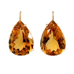 Citrine Drop Earrings, 18 Karat Yellow Gold