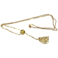 Citrine Drop Necklace on 18 Karat Yellow Gold