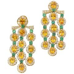 Citrine, Emerald, and Diamond Chandelier Earrings