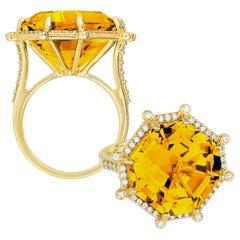 Goshwara Citrine Emerald Cut Asscher And Diamond Ring