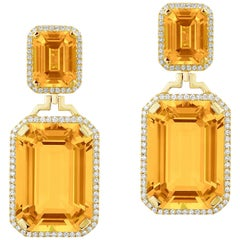 Citrine Emerald Cut Earrings with Diamonds
