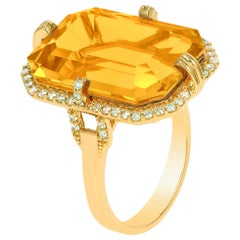 Goshwara Emerald Cut Citrine And Diamond Ring