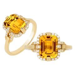 Goshwara Emerald Cut Citrine And Diamond Ring