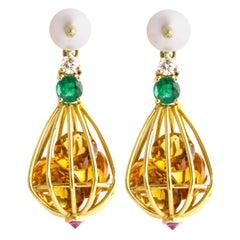 Ico & the Bird Citrine, Emerald, Diamond, Pearl 18 Karat Gold Cage Drop Earrings