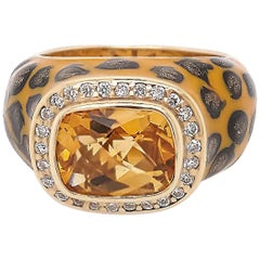 Citrine Enamel Leopard Cocktail Ring