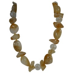 Citrine Faceted Cracked Rock Crystal Gemstome Necklace