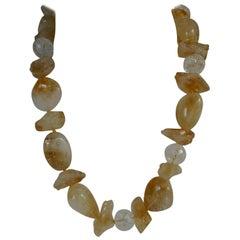 Citrine Faceted Cracked Rock Crystal Gemstome Necklace