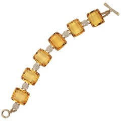 Citrine Faceted Flat Cushion Bracelet with Diamonds