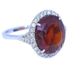 Citrine Flame-Red Diamonds Ring White 18 Karat Gold, 1960