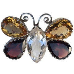 Citrine Garnet and Rock Crystal Brooch Pin