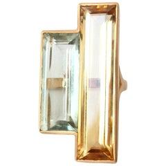Green Amethyst  Citrine 18 Karat Yellow Gold Baguette Ring