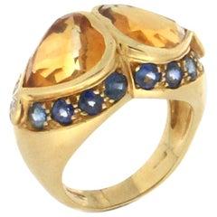 Citrine Hearts 18 Karat Yellow Gold Sapphires Diamonds Cocktail Ring