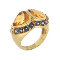 Citrine Hearts 18 Karat Yellow Gold Sapphires Diamonds Cocktail Ring