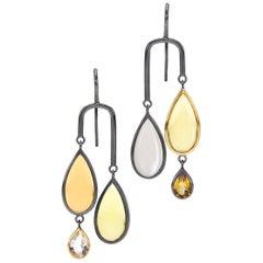 Citrine Lemon Quartz, Moonstone, Rock Crystal Sterling Silver/ 18K Gold Earrings