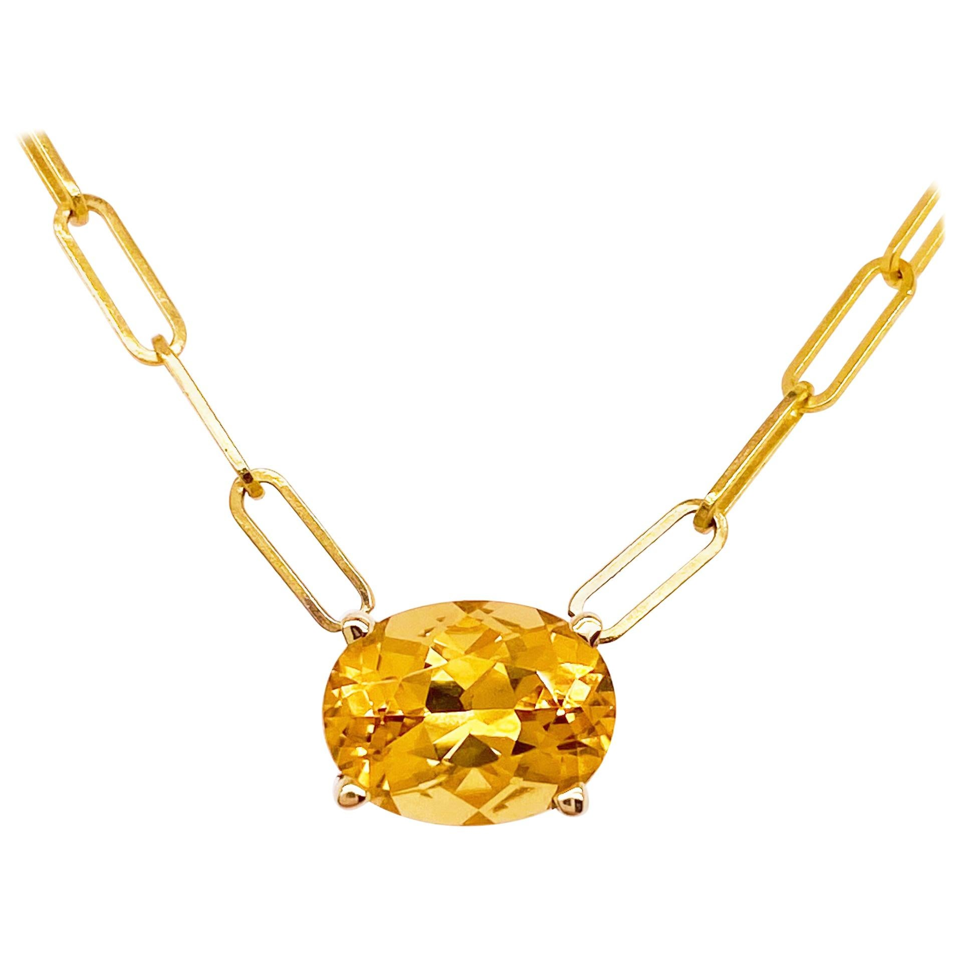 Citrine Link Necklace Yellow Gold Paperclip Chain, Paper Clip Necklace Pendant