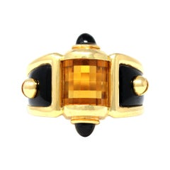 Citrine & Onyx Cocktail Ring Set in 18k Yellow Gold