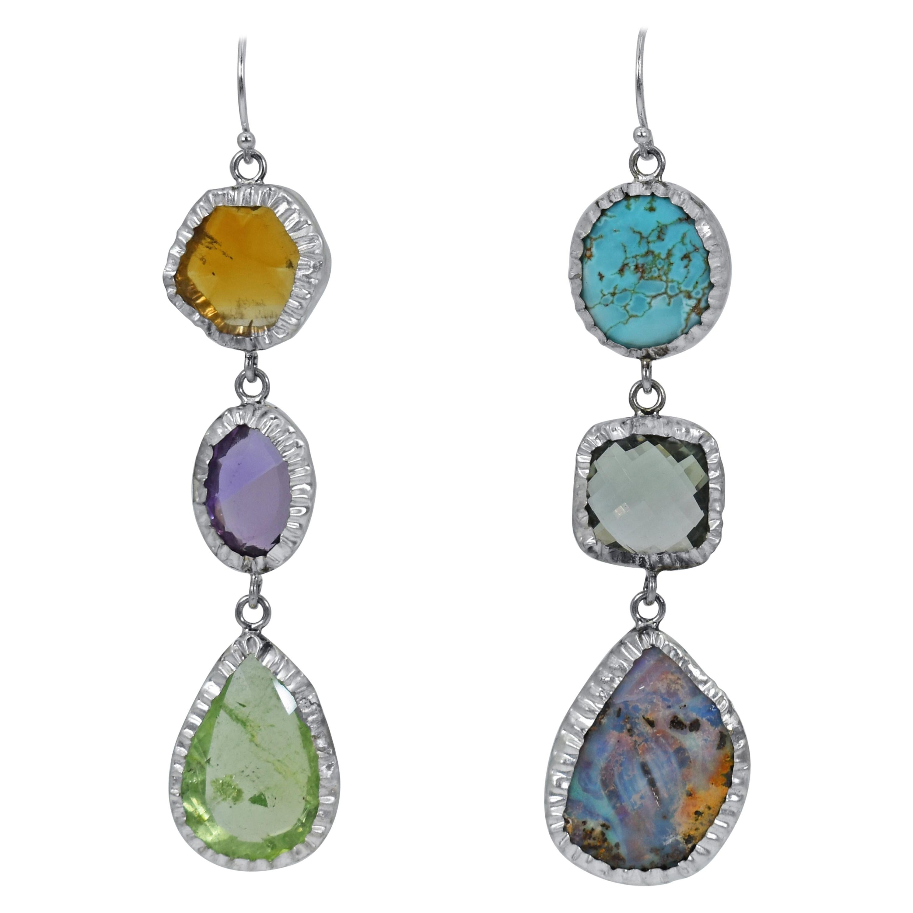 Citrine, Opal and Turquoise Sterling Silver Asymmetrical Dangle Earrings