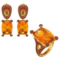 Citrine Orange Sapphires 18 Karat Yellow Gold Suite