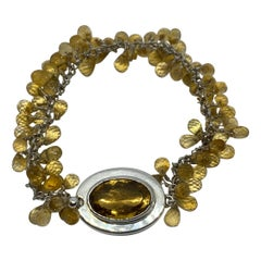 Citrine Oval and Briolette Bracelet in Sterling Silver
