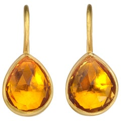 Citrine Pear Shape Drop Earrings in 22 Karart Gold