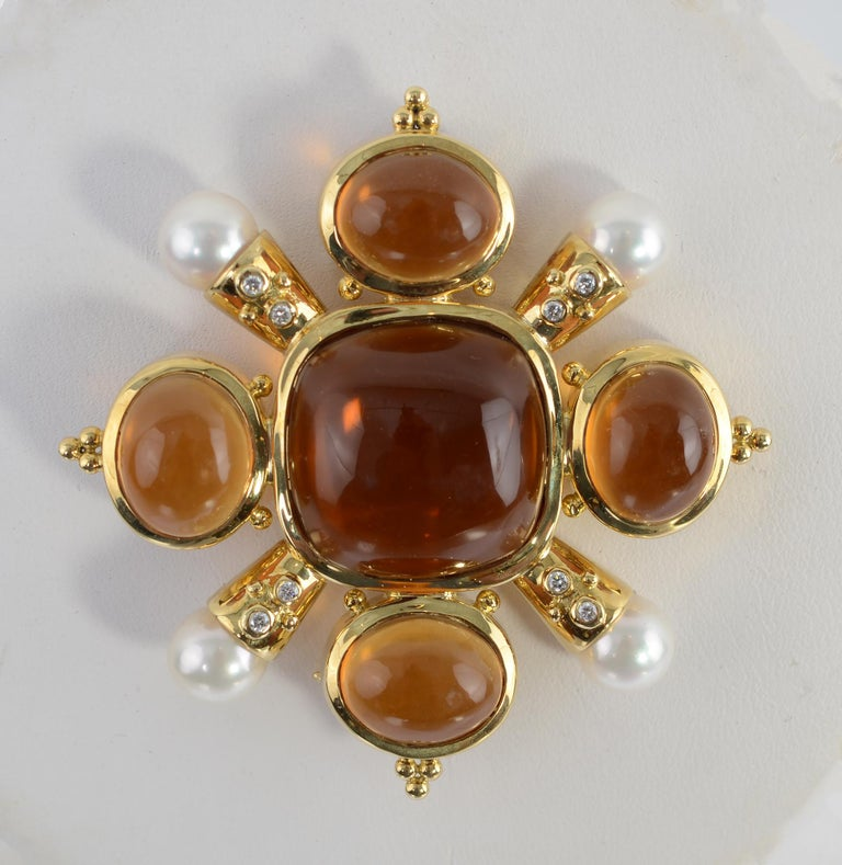 Modern Citrine, Pearl and Diamond Brooch For Sale
