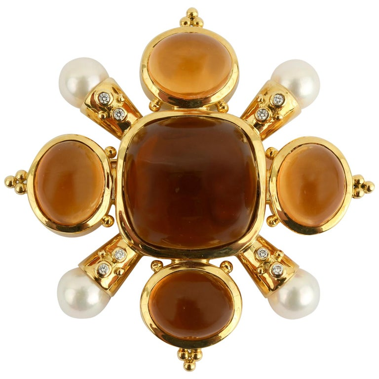 Citrine, Pearl and Diamond Brooch For Sale