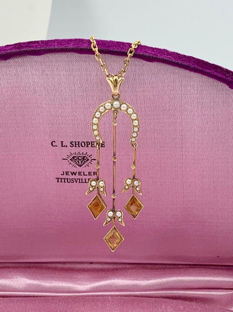 Mixed Cut Citrine Pearl Art Deco Pendant Lavalier Necklace Antique Gold Fisher Co. For Sale