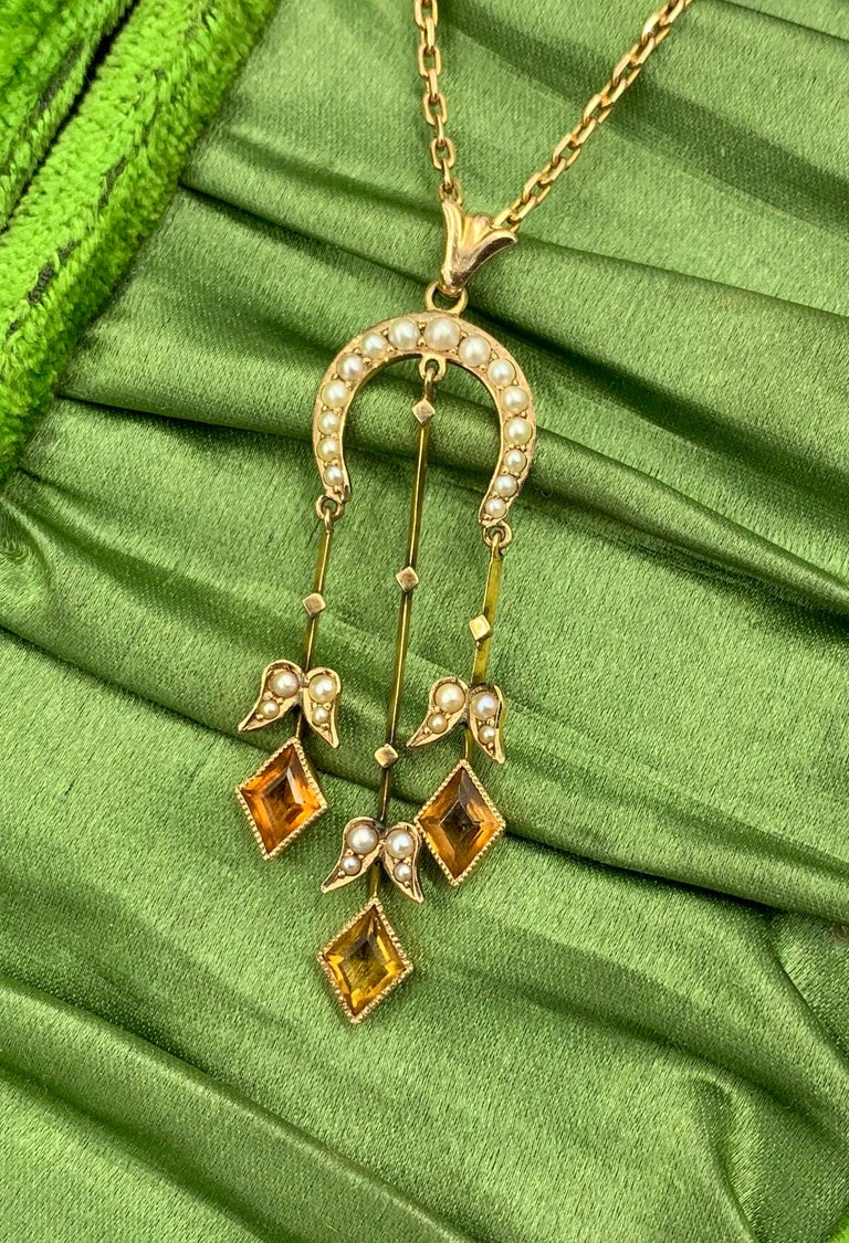 Citrine Pearl Art Deco Pendant Lavalier Necklace Antique Gold Fisher Co. In Good Condition For Sale In New York, NY
