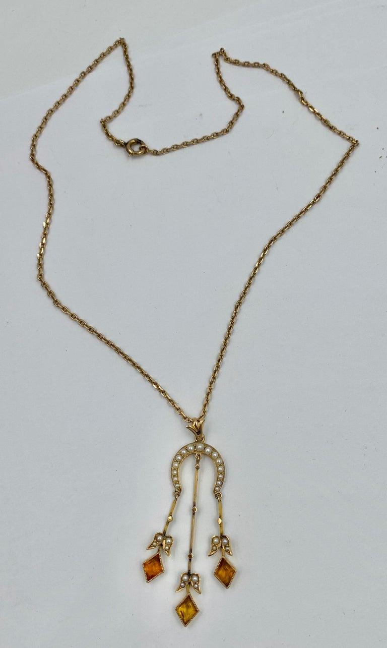 Women's Citrine Pearl Art Deco Pendant Lavalier Necklace Antique Gold Fisher Co. For Sale