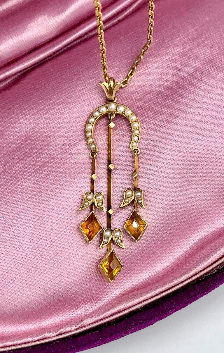 Citrine Pearl Art Deco Pendant Lavalier Necklace Antique Gold Fisher Co. For Sale 1