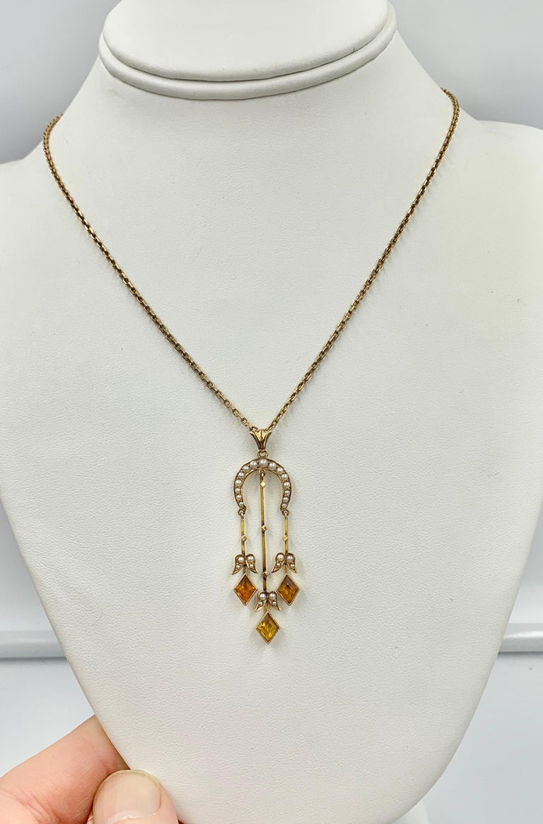 Citrine Pearl Art Deco Pendant Lavalier Necklace Antique Gold Fisher Co. For Sale 2
