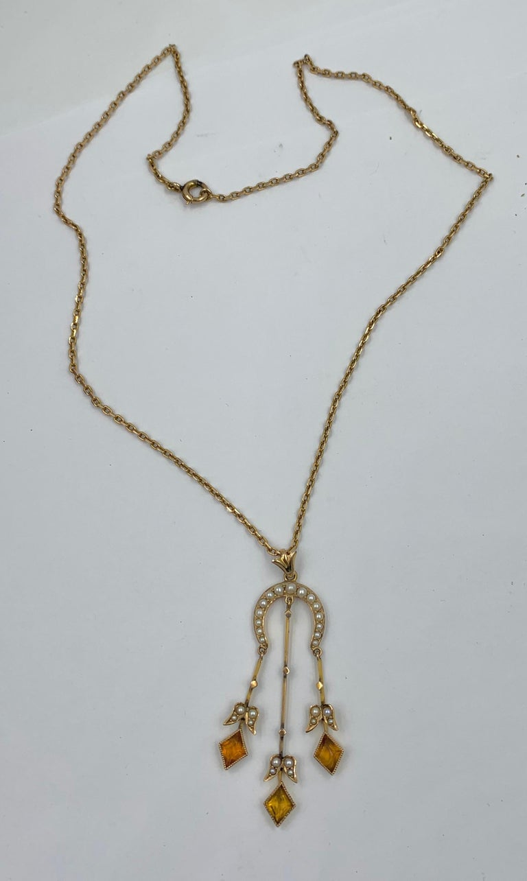 Citrine Pearl Art Deco Pendant Lavalier Necklace Antique Gold Fisher Co. For Sale 3