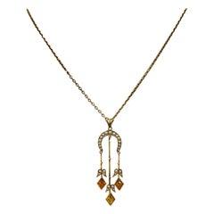 Citrine Pearl Art Deco Pendant Lavalier Necklace Antique Gold Fisher Co.