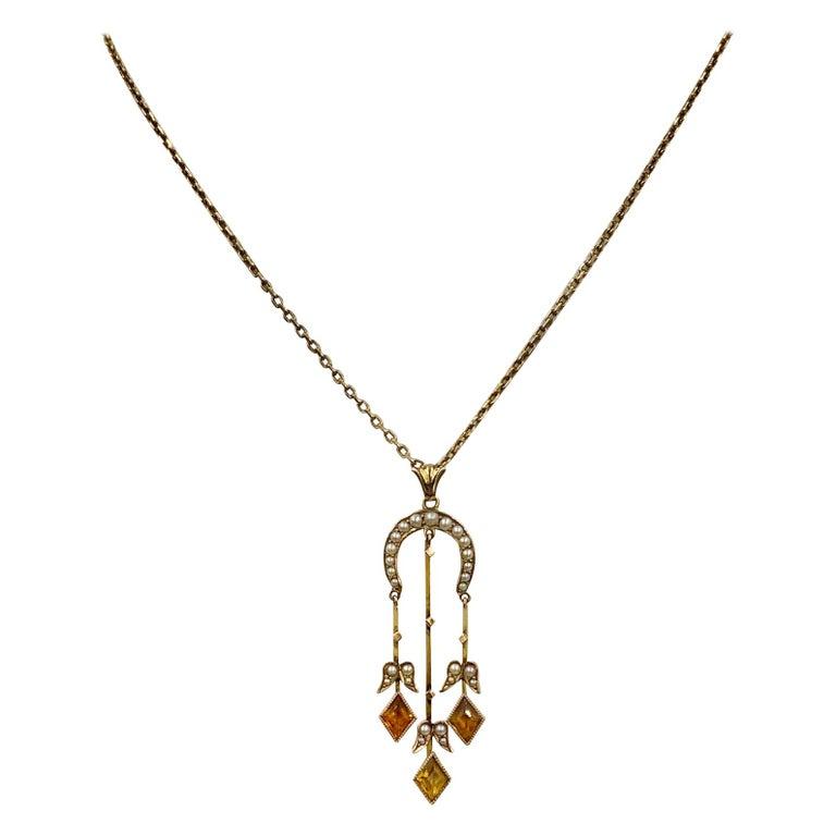 Citrine Pearl Art Deco Pendant Lavalier Necklace Antique Gold Fisher Co. For Sale