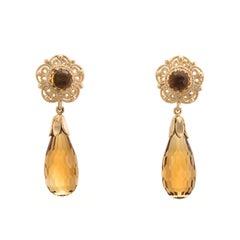 Citrine Pendant Drop Earrings Vintage 14 Karat Yellow Gold Estate Fine Jewelry