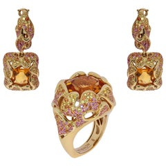 Citrine Pink Yellow Orange Sapphire 18 Karat Yellow Gold Suite