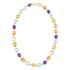 Citrine, Purple and Green Amethyst, Blue and Lemon Topaz 18 Karat Gold Necklace