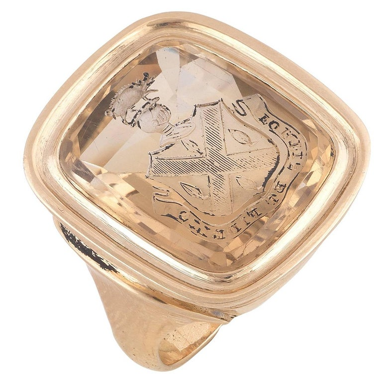 Citrine Quartz Crest Intaglio Ring