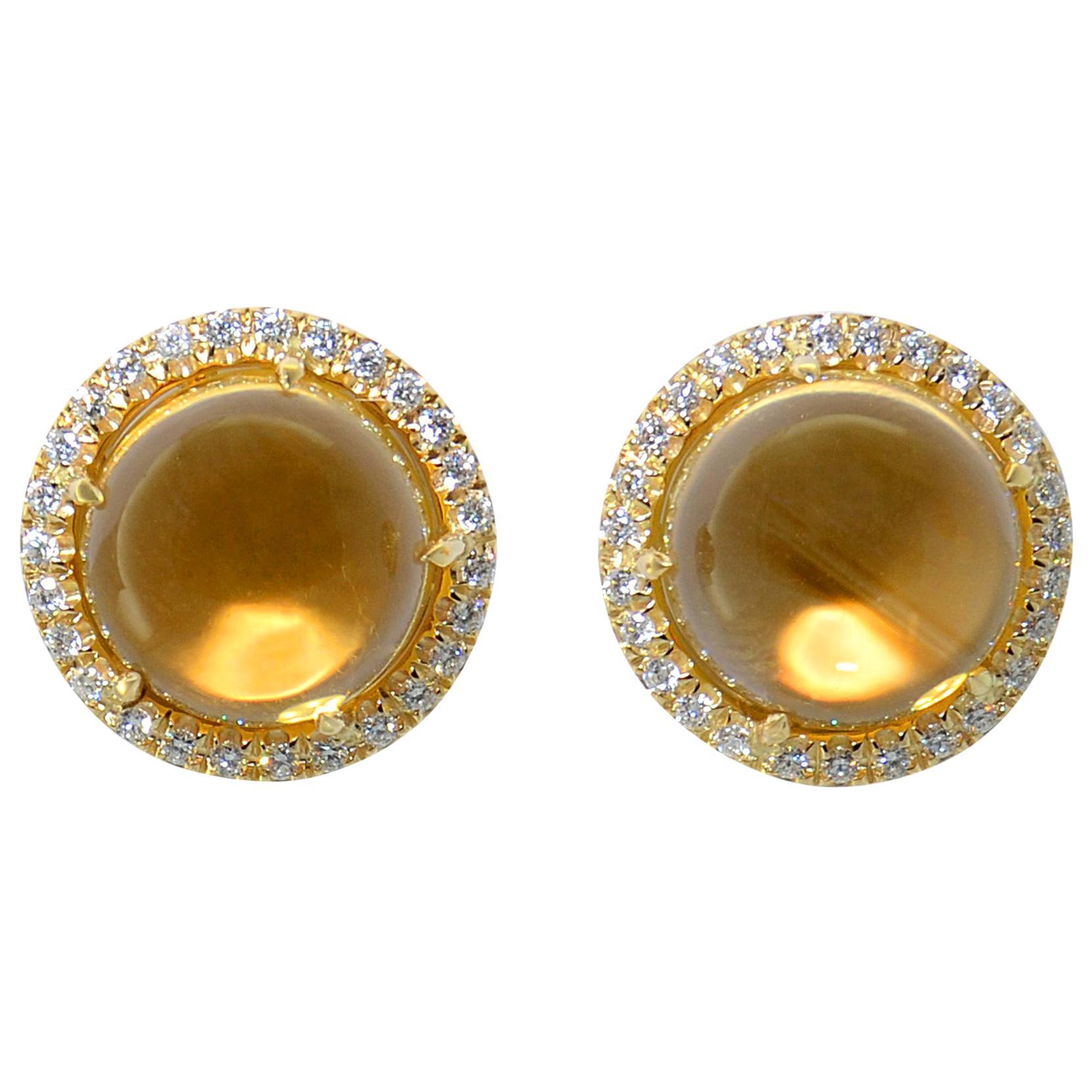 Citrine Quartz Diamand 18 Karat Yellow Gold Earrings