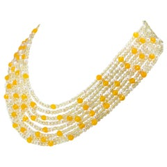 Citrine Quartz Freshwater Pearl Yellow Agate Collar Silver Beaded Necklace