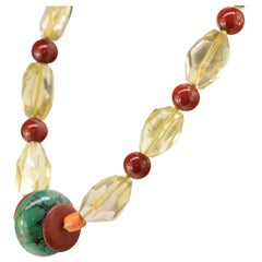 Citrine Quartz Red Jasper Coral Turquoise Silver Geometric Necklace Earrings Set