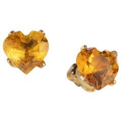 Citrine Quartz Yellow Heart 14 Gold Filled Handmade Intini Jewels Stud Earrings