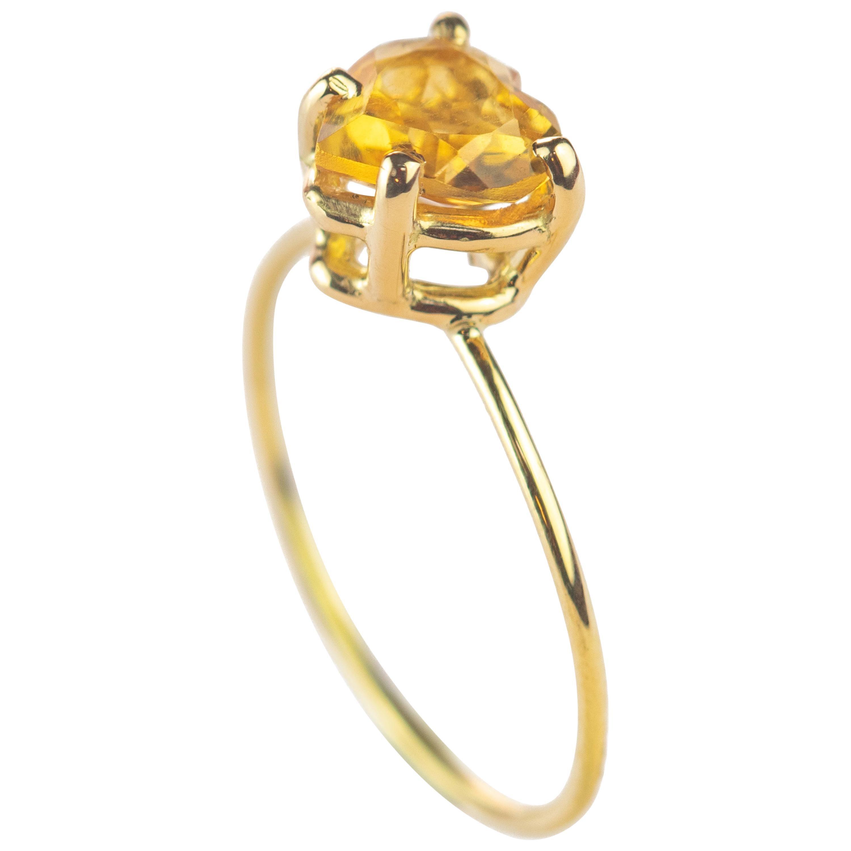 Citrine Quartz Yellow Heart 18 Karat Yellow Gold Valentine's Romantic Ring