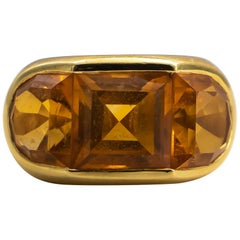 Citrine Ring 10 Carat 18 Karat Yellow Gold